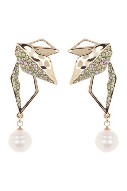 Image of Carolee Pave Leaf Geometric Pearl Drop Earrings