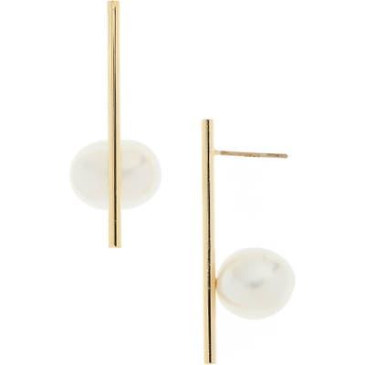 Serefina Genuine Pearl Bar Post Earrings