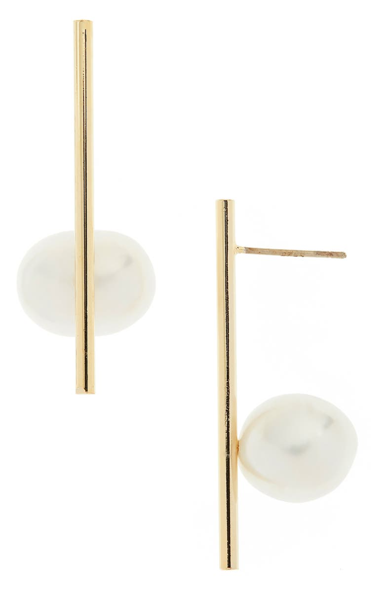 SEREFINA Genuine Pearl Bar Post Earrings, Main, color, 710