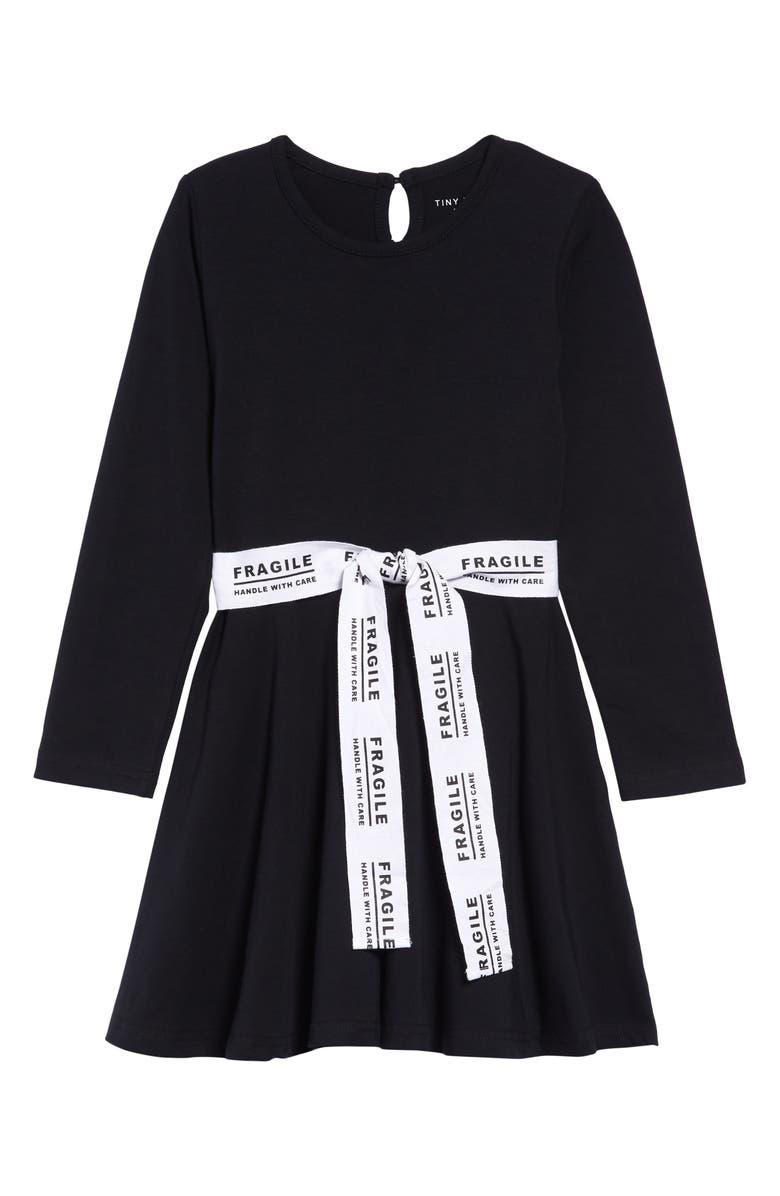 TINY TRIBE Fragile Fit & Flare Dress, Main, color, BLACK