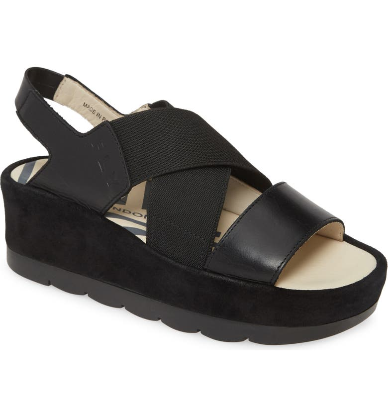 FLY LONDON Bime Wedge Sandal, Main, color, BLACK RUG LEATHER/ SUEDE