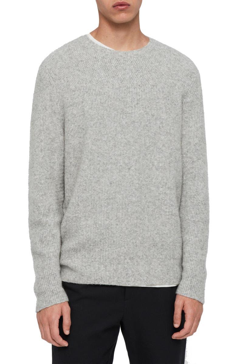 ALLSAINTS Harbour Crewneck Wool Blend Sweater, Main, color, TIN GREY MARL
