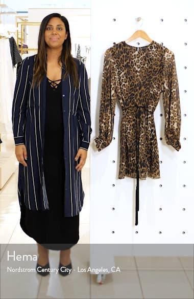 Rebeca Leopard Print Silk Long Sleeve Minidress, sales video thumbnail