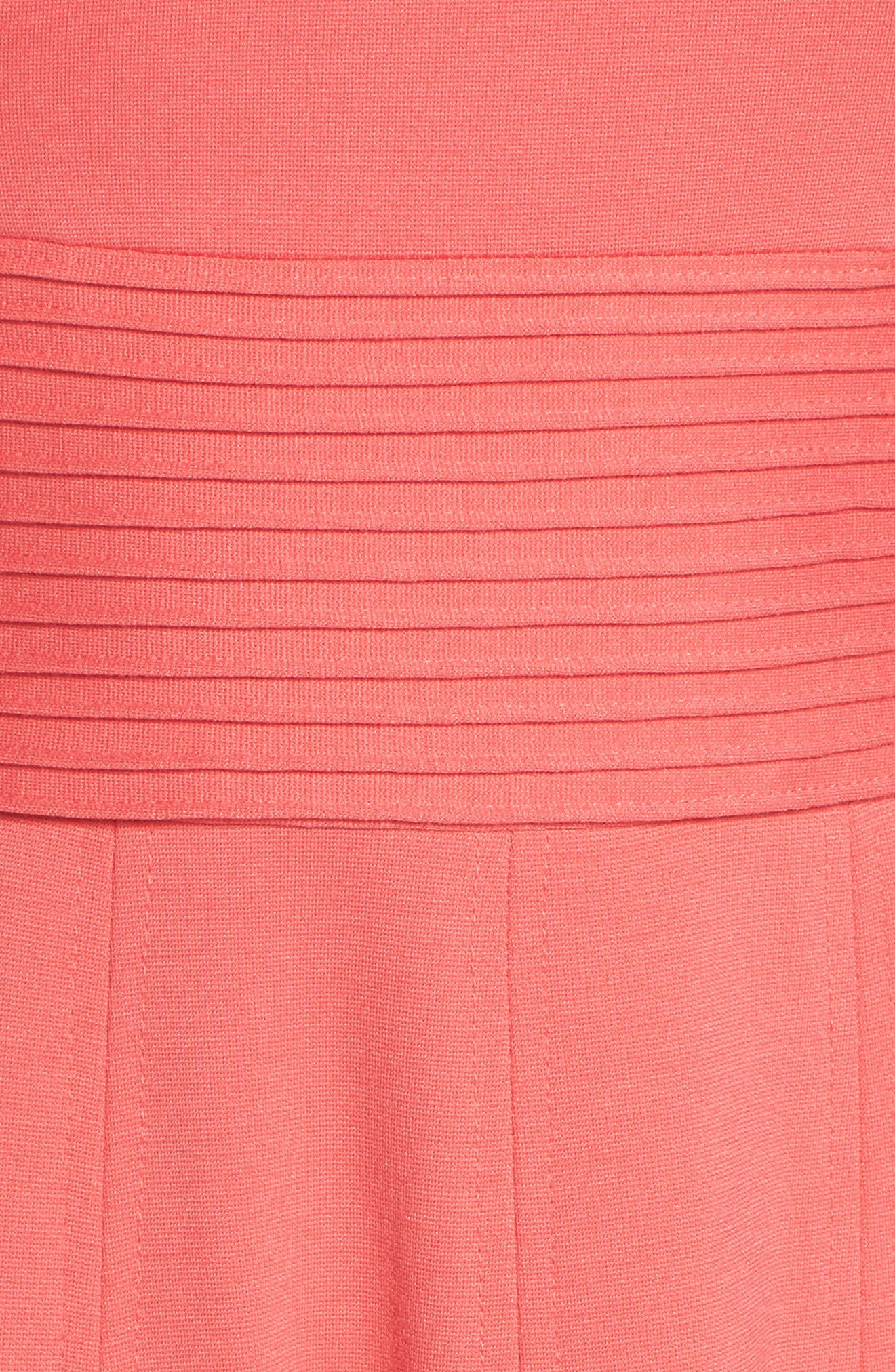,                             Pintucked Waist Seamed Ponte Knit Fit & Flare Dress,                             Alternate thumbnail 6, color,                             950