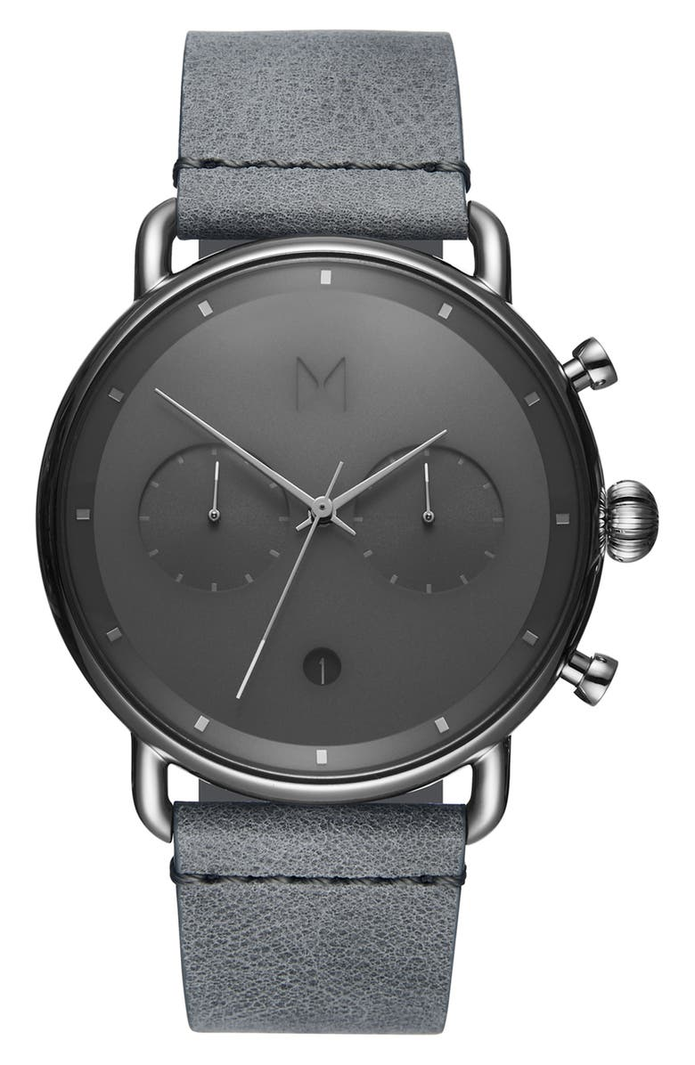 MVMT Blacktop Chronograph Leather Strap Watch, Main, color, 020