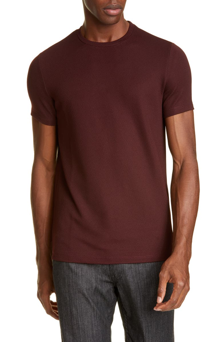 EMPORIO ARMANI Stretch Crewneck T-Shirt, Main, color, MERLOT