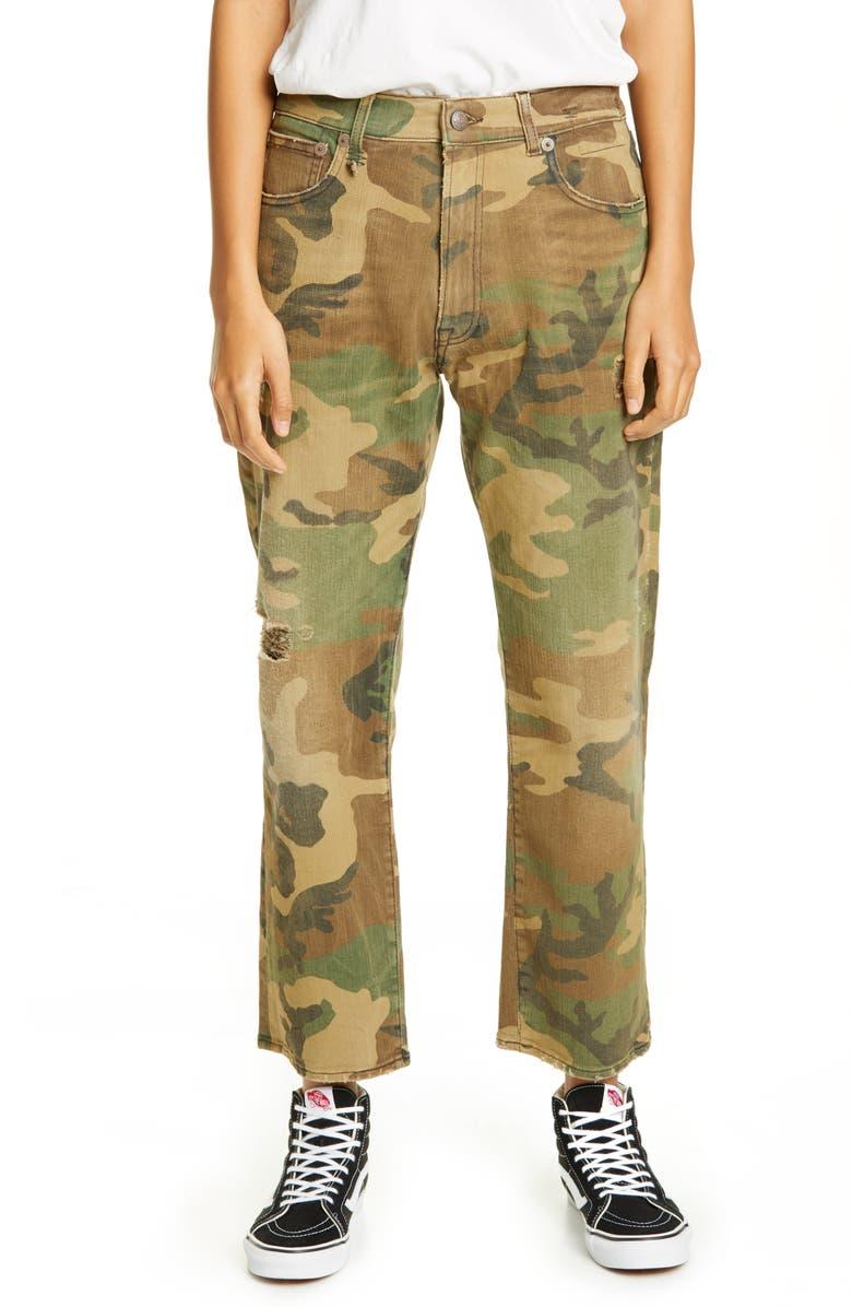 R13 Camo Print Boyfriend Jeans, Main, color, BEIGE CAMO