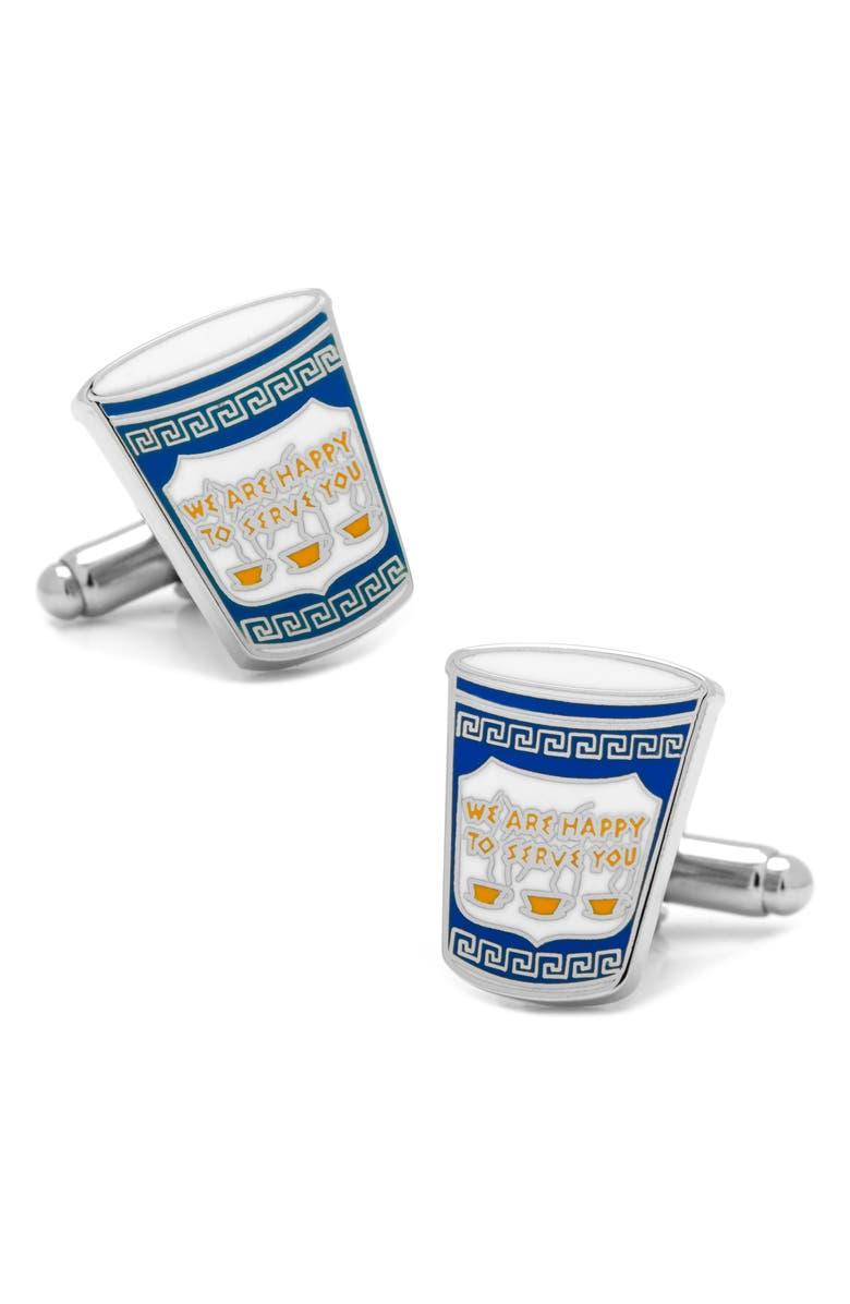 CUFFLINKS, INC. Greek Coffee Cup Cuff Links, Main, color, BLUE
