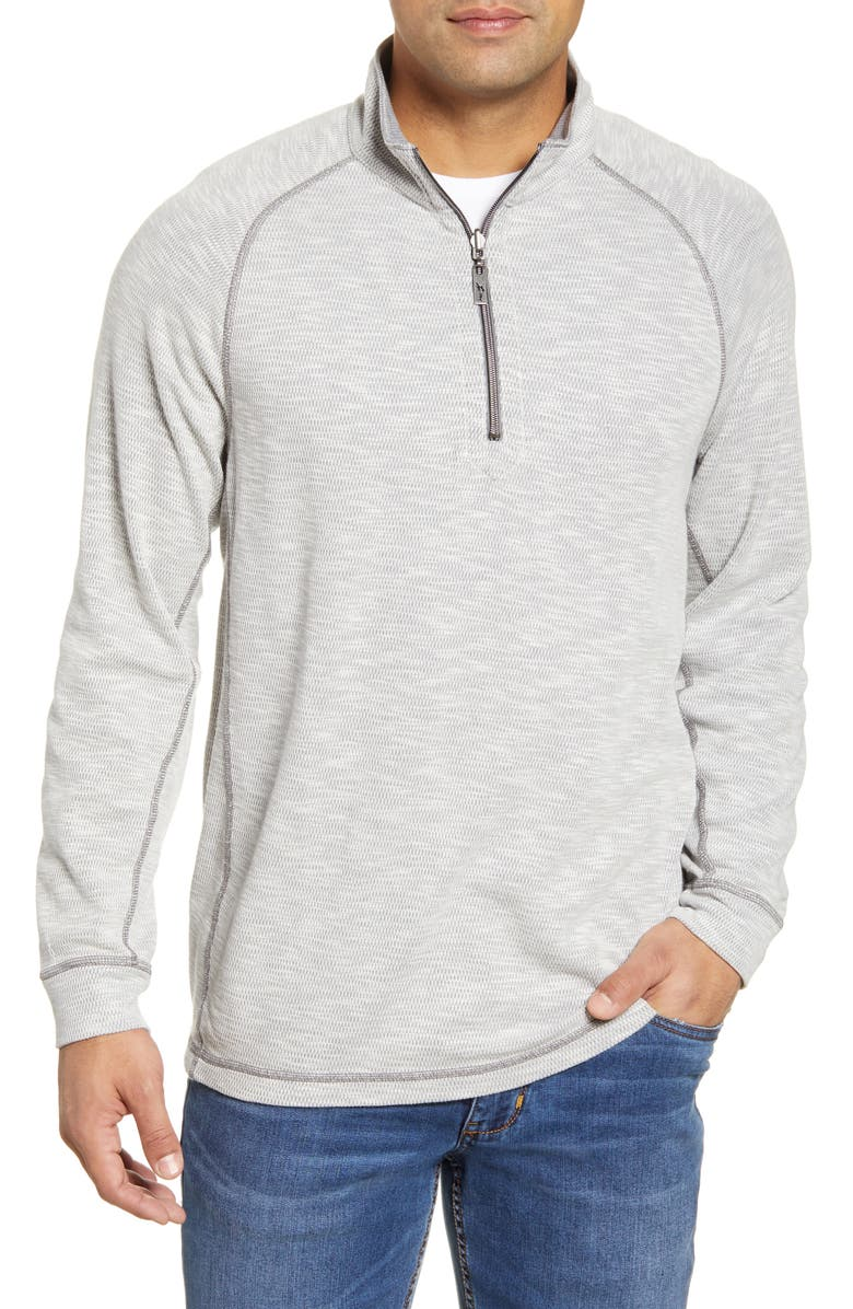 TOMMY BAHAMA Barrier Beach Reversible Half Zip Pullover, Main, color, COAL
