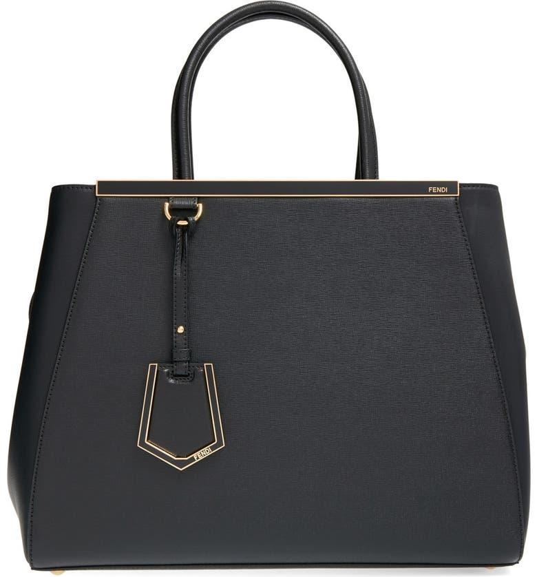 FENDI '2Jours Elite' Leather Shopper, Main, color, 001