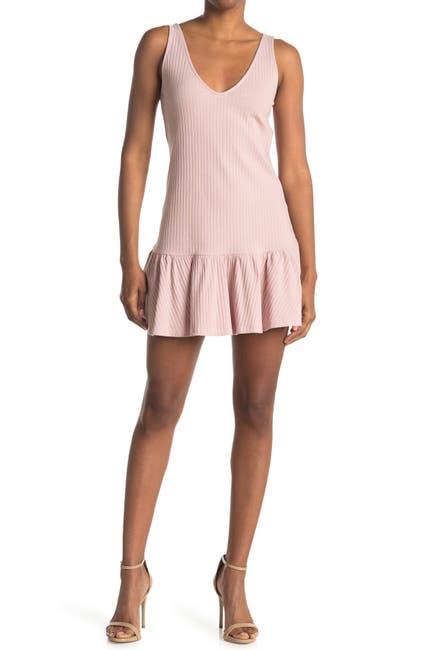 Image of Elodie Ribbed Knit Ruffle Hem Mini Dress