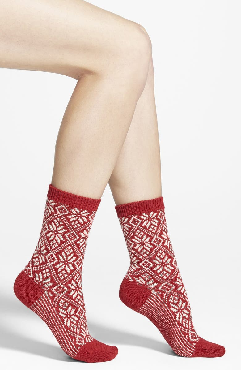SMARTWOOL Snowflake Pattern Crew Socks, Main, color, CRIMSON