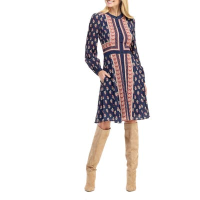 Gal Meets Glam Collection Carlene Print Button Front Long Sleeve Dress, Blue