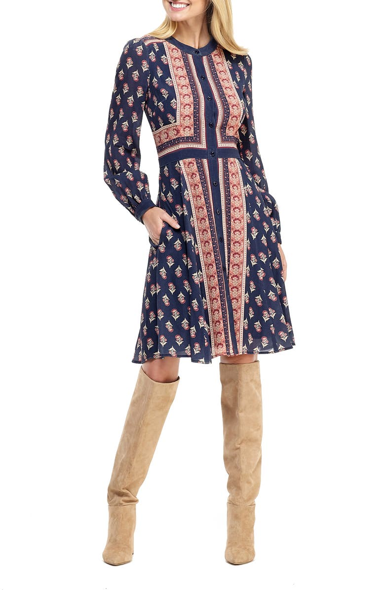 GAL MEETS GLAM COLLECTION Carlene Print Button Front Long Sleeve Dress, Main, color, NAVY