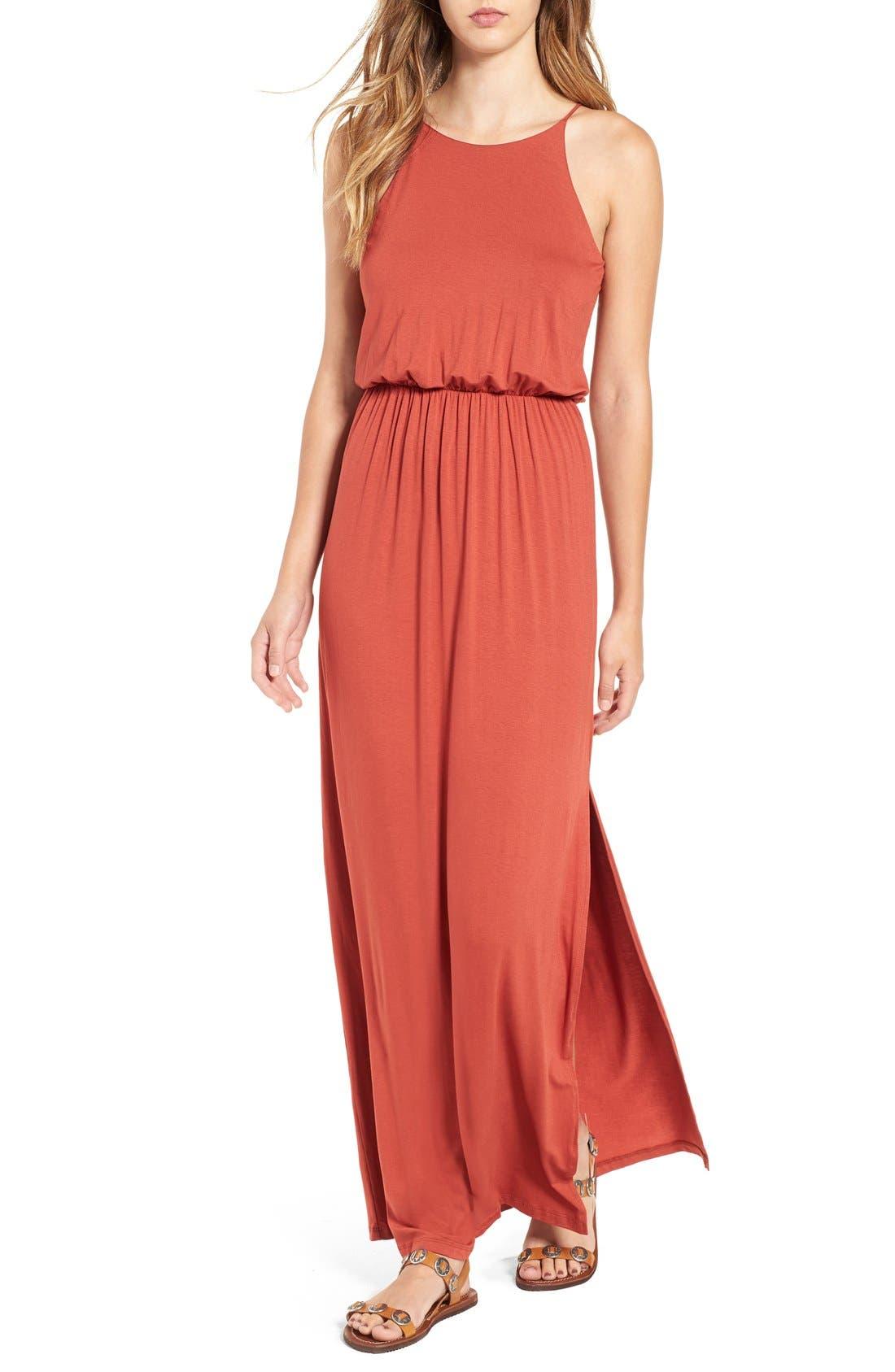 ,                             High Neck Maxi Dress,                             Main thumbnail 133, color,                             800
