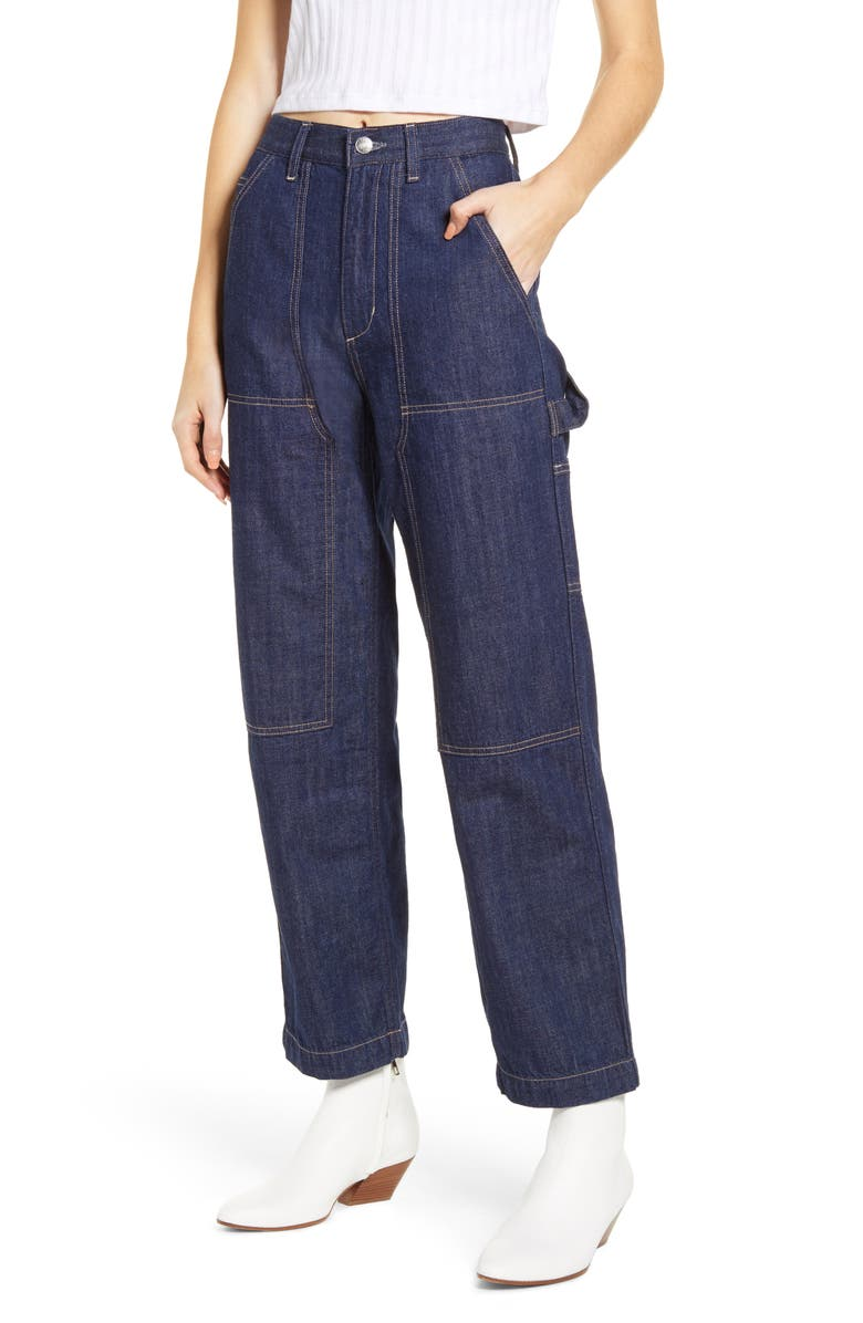 EDWIN Bailee Nonstretch Painter Jeans, Main, color, RINSE