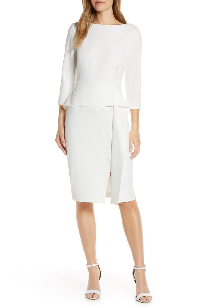VINCE CAMUTO Angled Ruffle Sheath Dress, Main, color, IVORY
