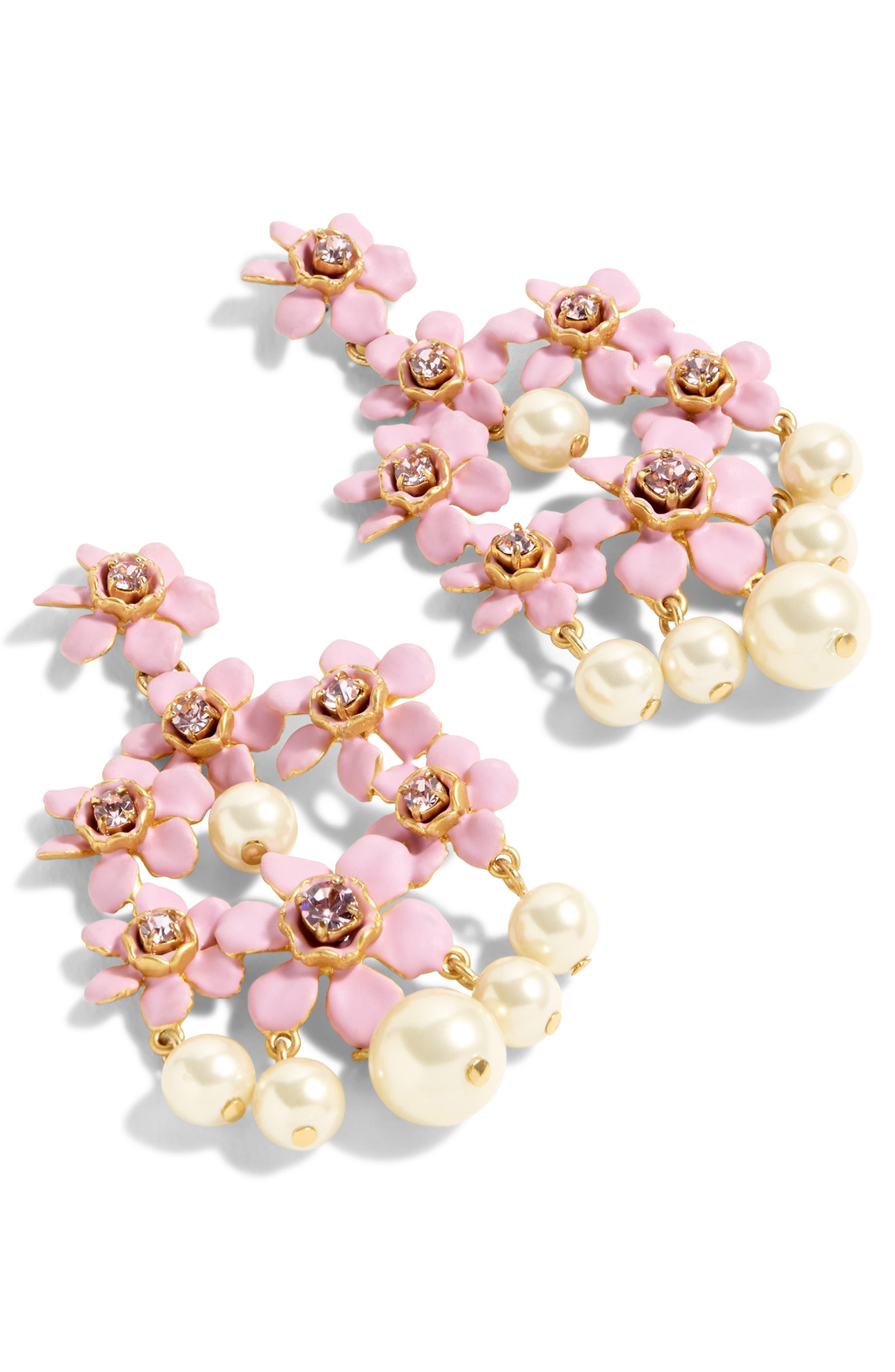 ,                             Pearl & Crystal Floral Chandelier Earrings,                             Main thumbnail 2, color,                             500