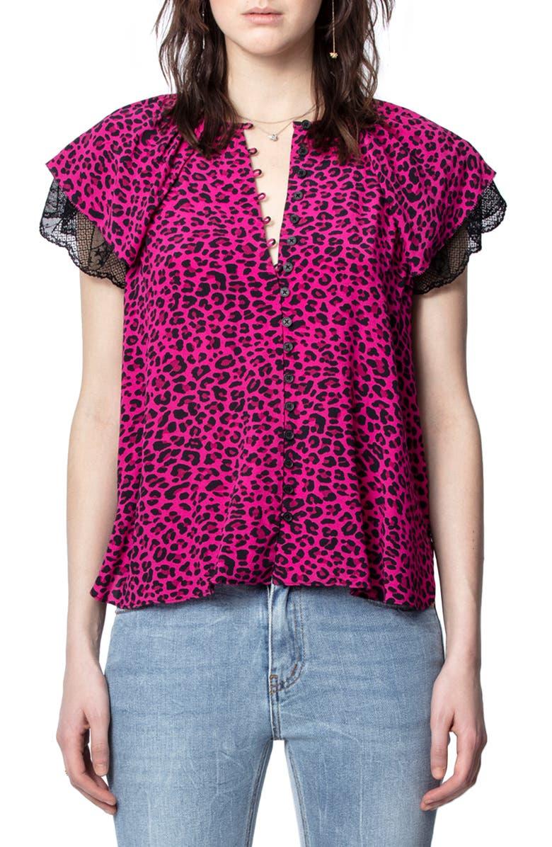 ZADIG & VOLTAIRE Tinker Leopard Print Top, Main, color, 692