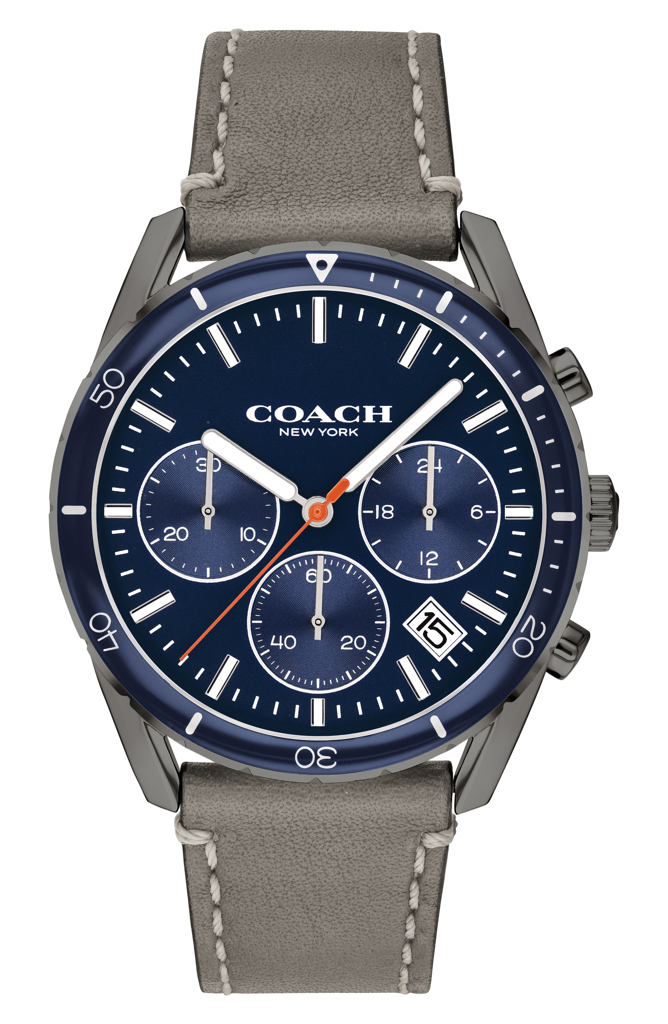 Thompson Sport Chronograph Leather Strap Watch, 41mm, Main, color, GREY/ BLUE/ GREY