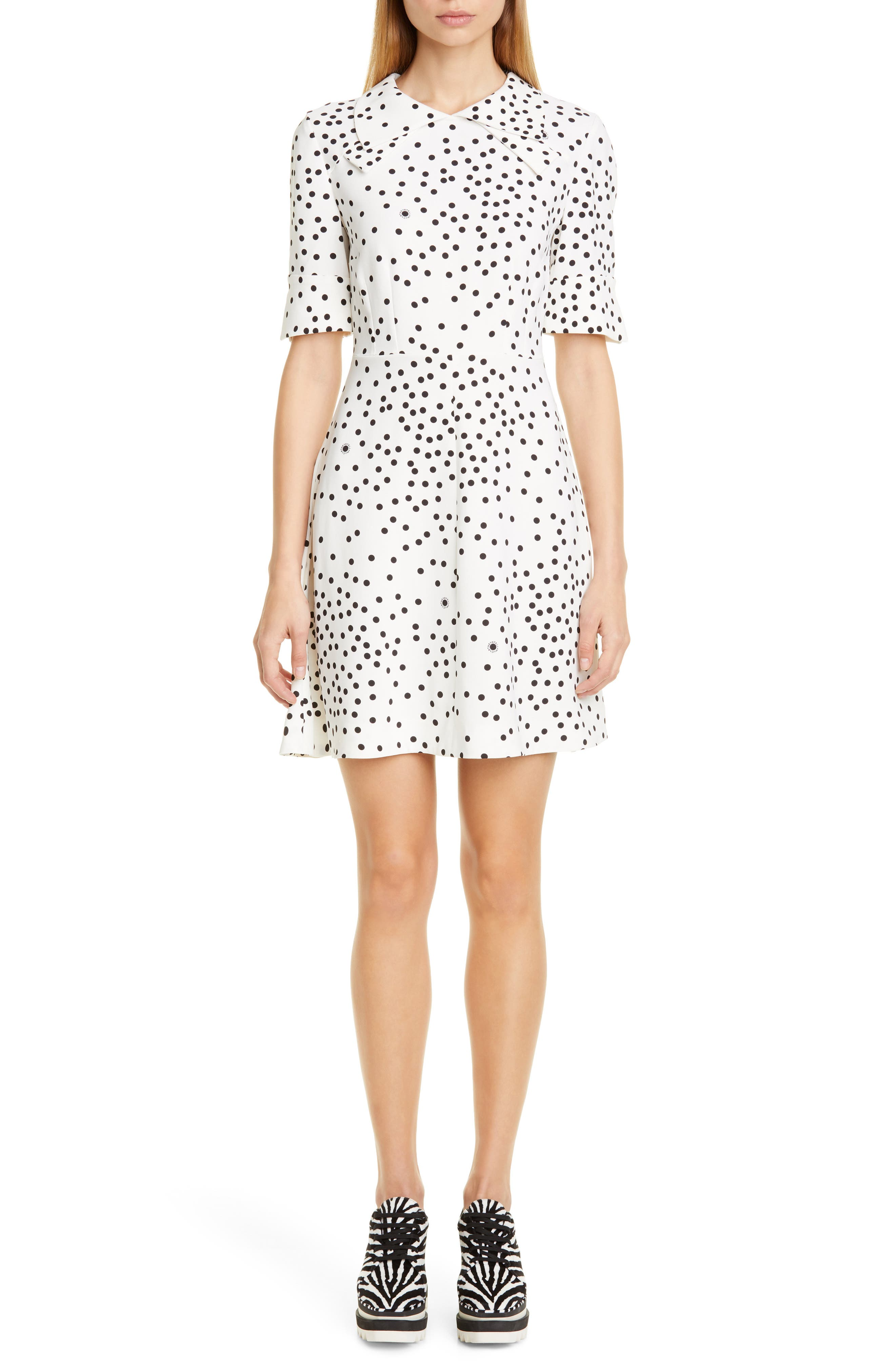 Stella Mccartney Dresses Dot Print Fit & Flare Stretch Cady Dress