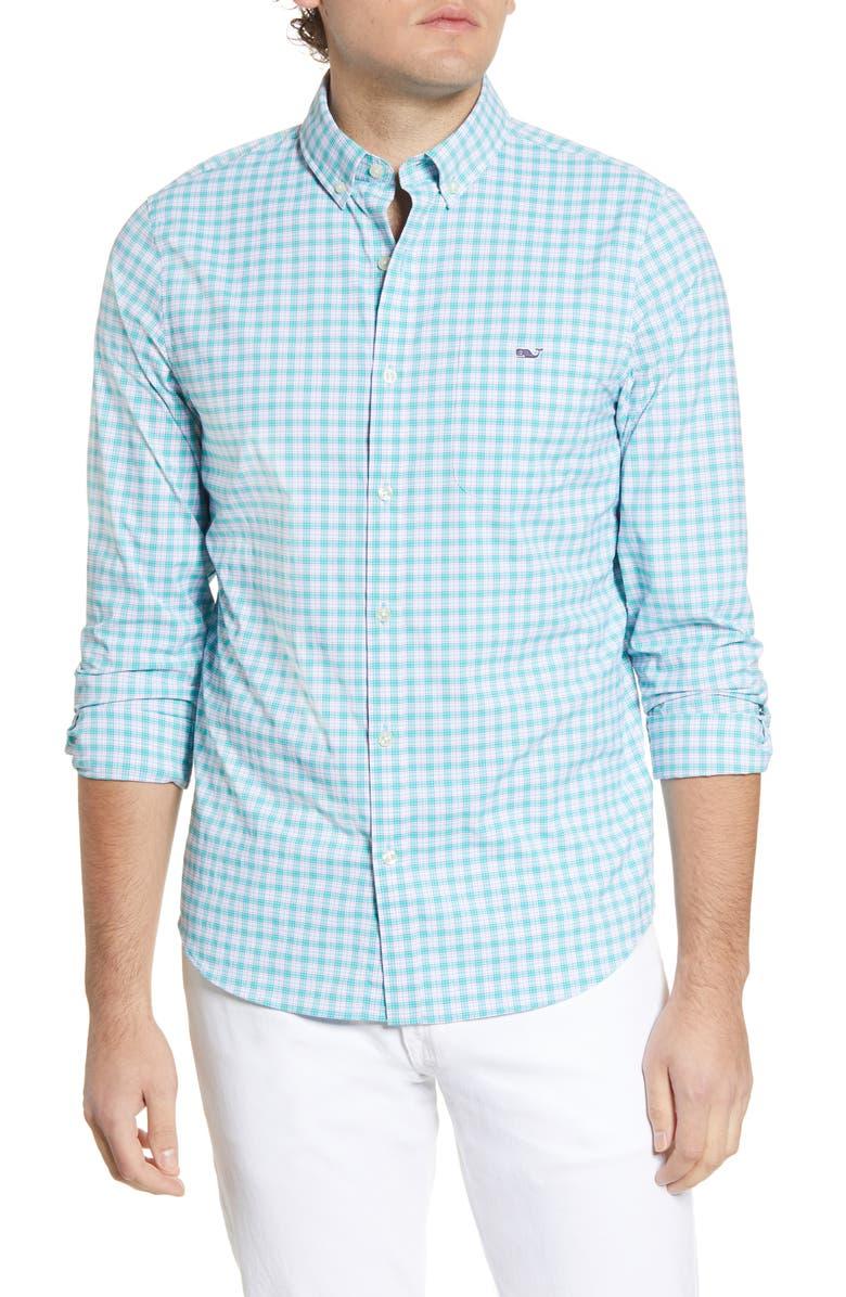 VINEYARD VINES Tangelo Tucker Slim Fit Plaid Button-Down Performance Shirt, Main, color, 300