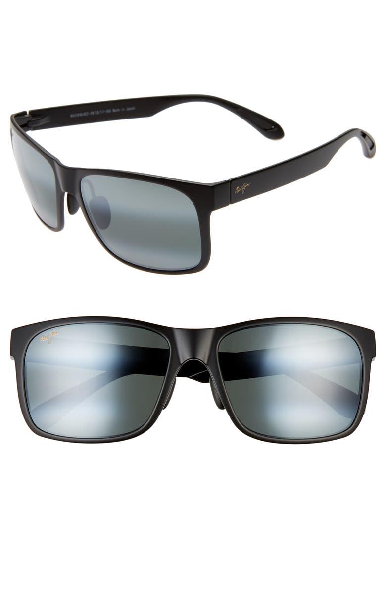 MAUI JIM Red Sands 59mm Polarized Sunglasses, Main, color, MATTE BLACK