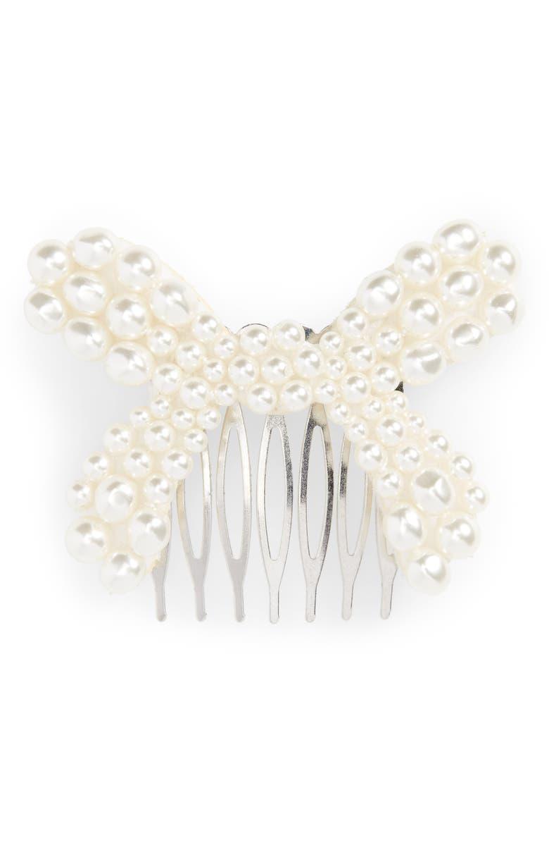 SIMONE ROCHA Imitation Pearl Bow Hair Comb, Main, color, 040