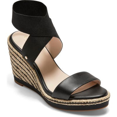 Cole Haan Cloudfeel Espadrille Wedge Sandal, Black