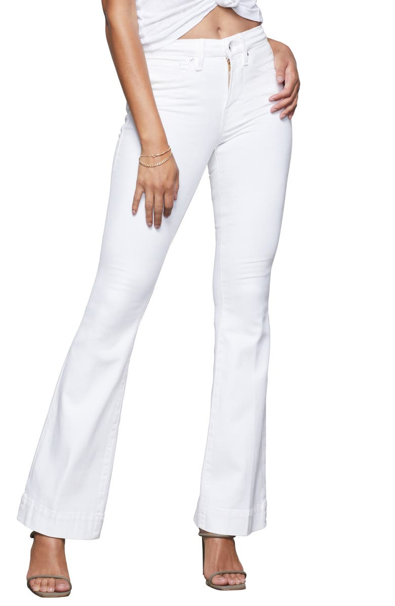 GOOD AMERICAN Good Flare Jeans, Main, color, WHITE001