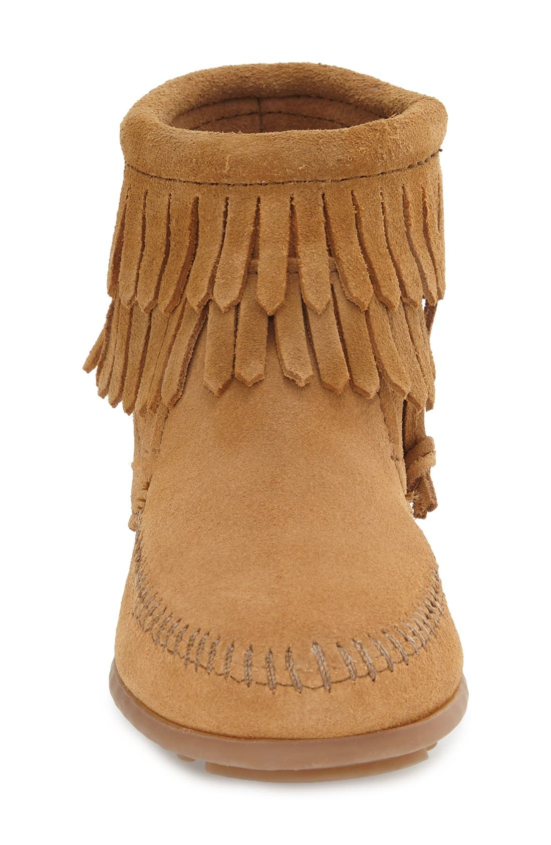 ,                             'Double Fringe' Boot,                             Alternate thumbnail 3, color,                             TAUPE