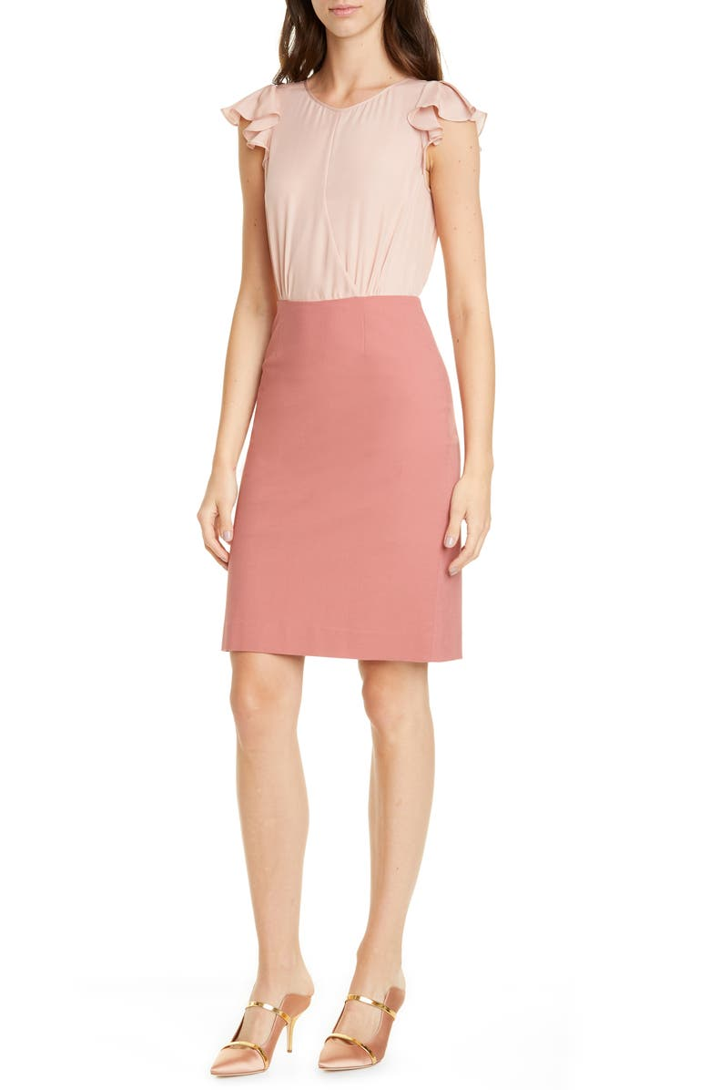 TAILORED BY REBECCA TAYLOR Stretch Suiting Dress, Main, color, BURNT ROSE COMBO