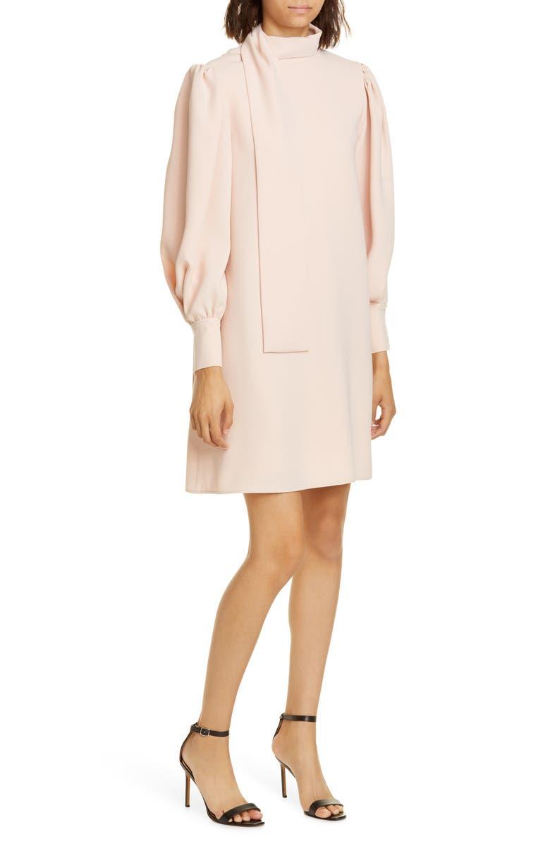 ADEAM Scarf Neck Long Sleeve Crepe Shift Dress, Main, color, PETAL PINK
