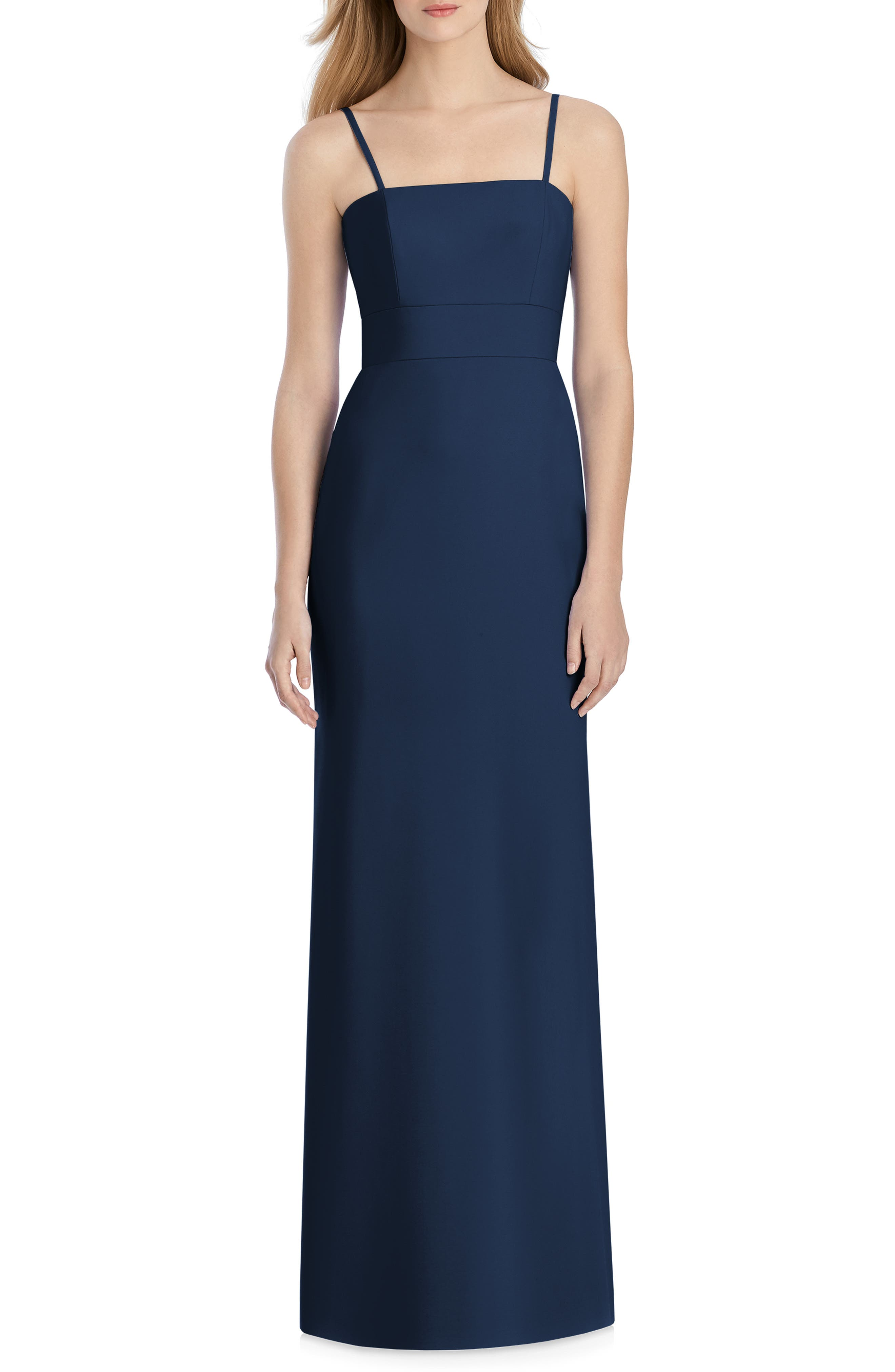 Lela Rose Bridesmaid Bow Back Crepe Gown, Blue