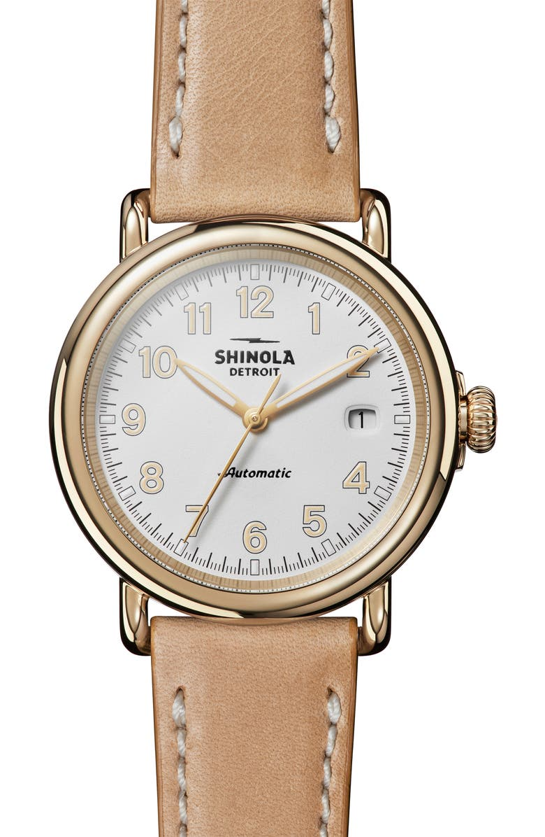 SHINOLA Runwell Automatic Leather Strap Watch, 40mm, Main, color, TAN/ WHITE/ GOLD