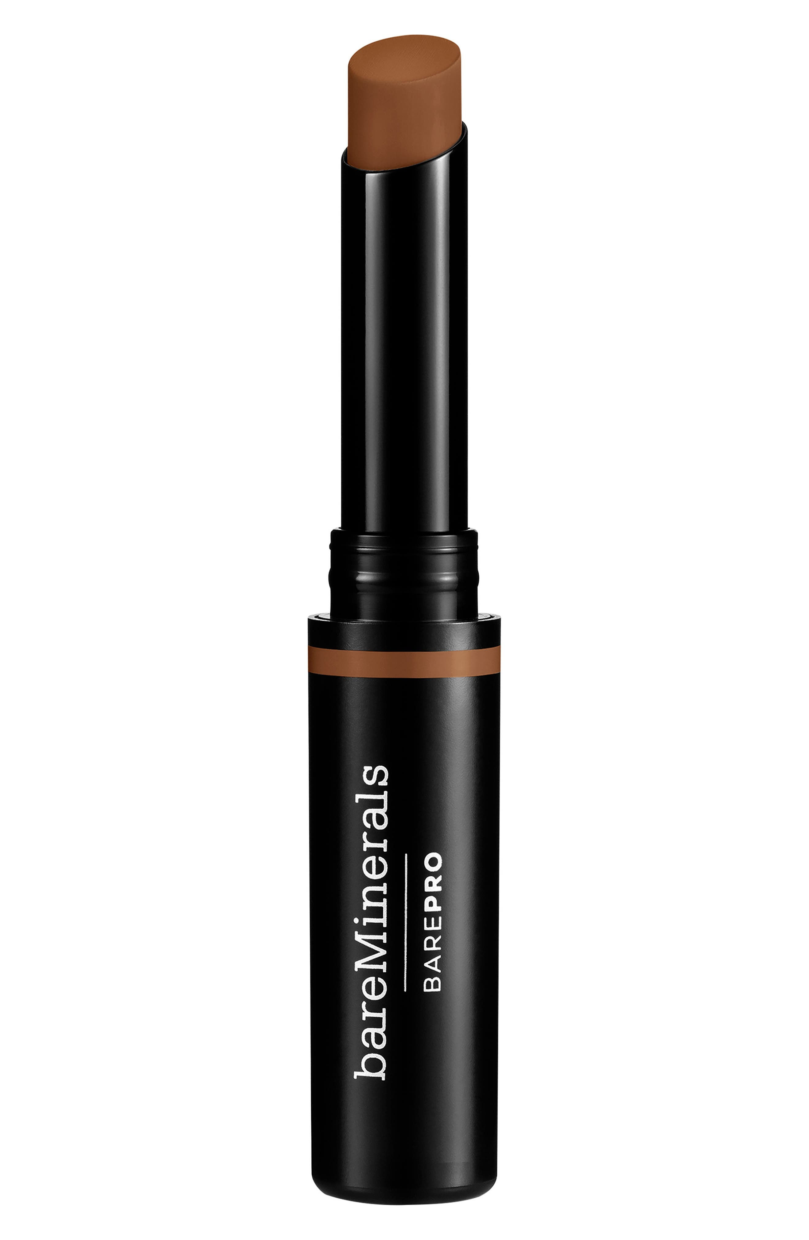 What it is: A waterproof ultra-creamy stick that glides on with zero drag and is resistant to creasing and humidity. What it does: This highly pigmented formula is powered by Mineral Lock Long Wear Technology to lock in place all day. Developed to precisely match your BarePro liquid and powder formulations, this concealer wears for 16 hours and nourishes the skin. Research results: In a one-week U.S. study of 95 women:- 97% agreed this concealer