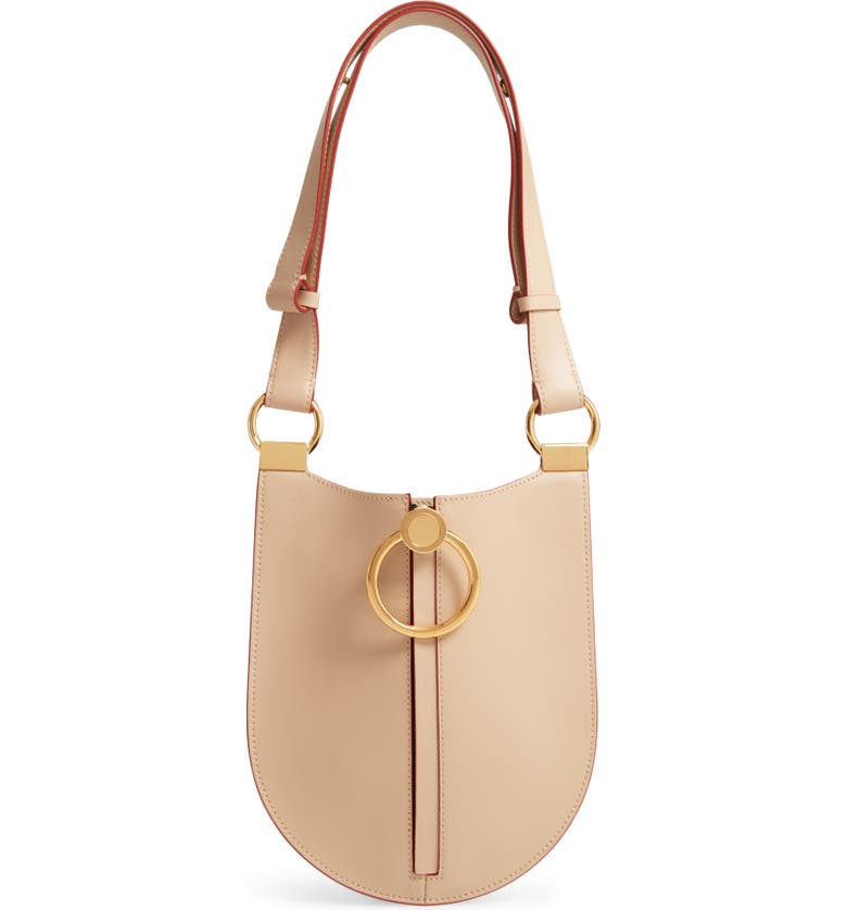 MARNI Earring Leather Shoulder Bag, Main, color, CEMENT
