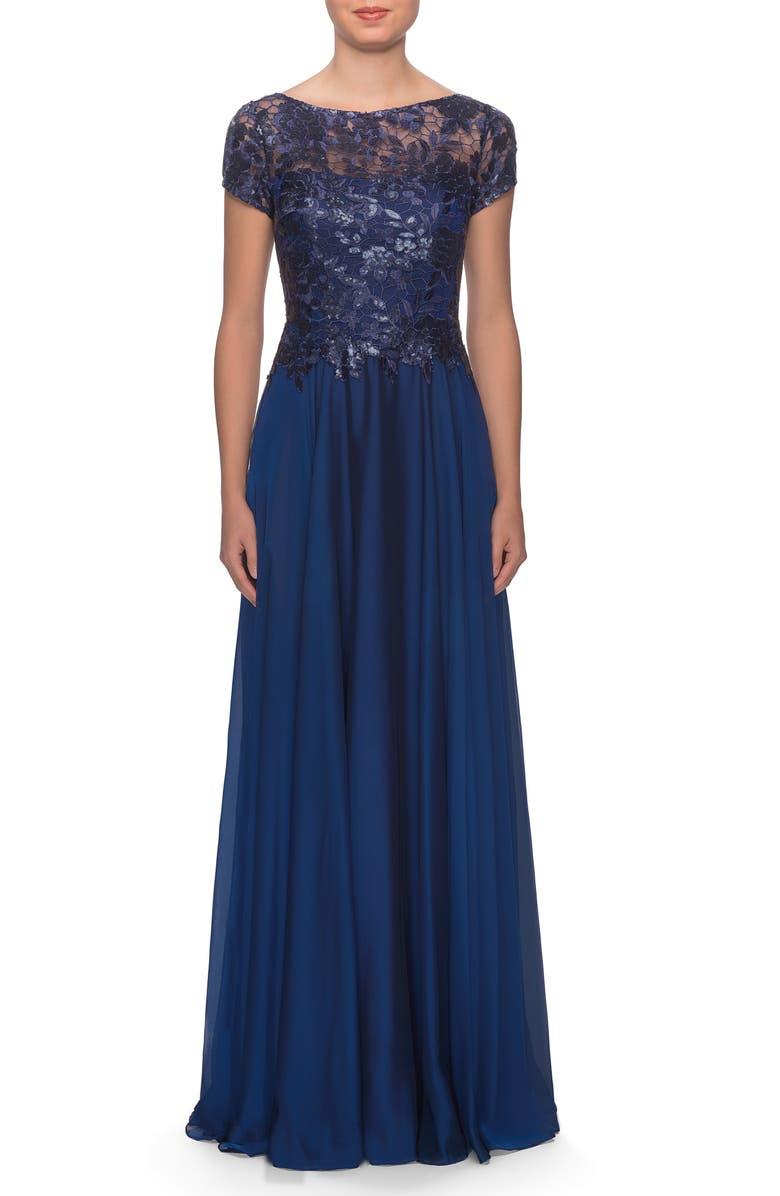 LA FEMME Floral Lace & Satin Gown, Main, color, NAVY