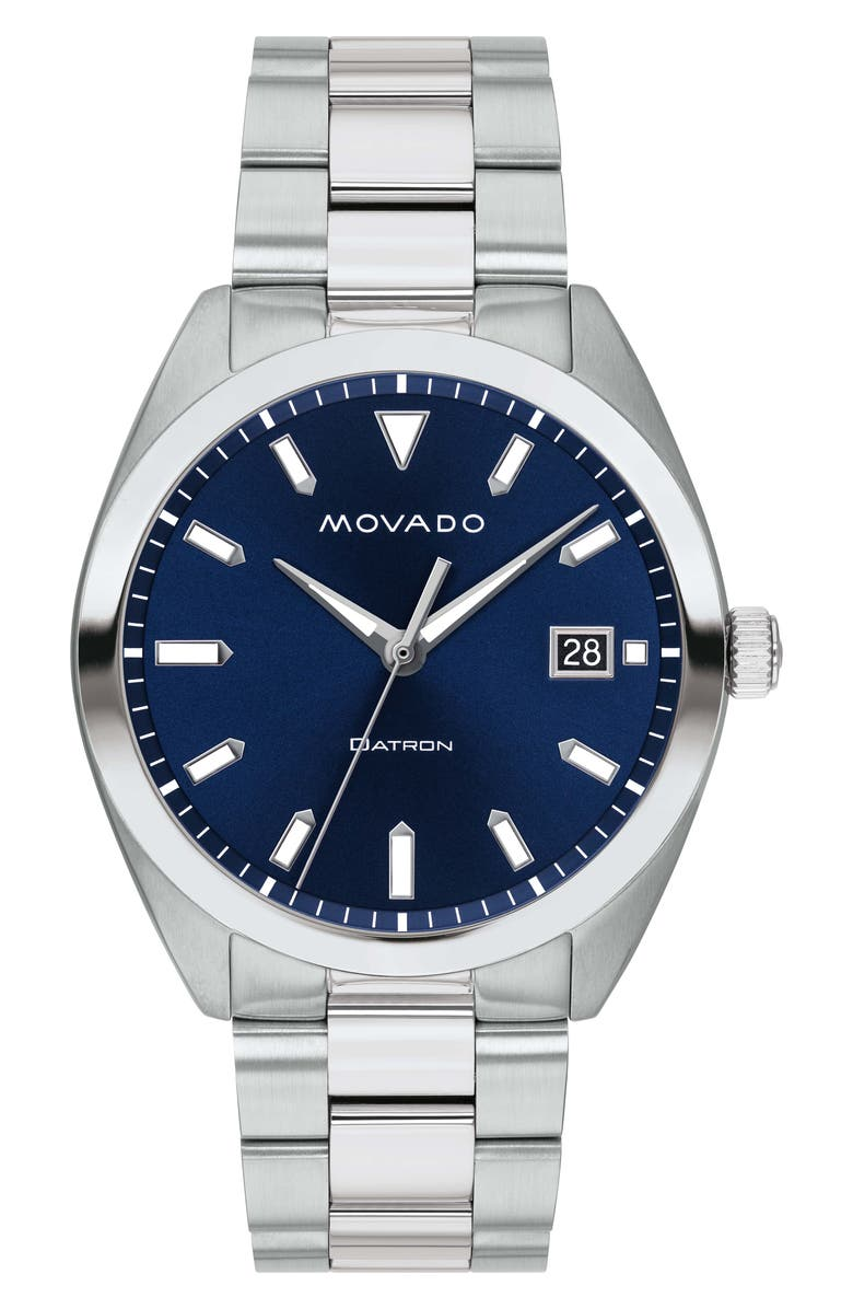 MOVADO Heritage Bracelet Watch, 39mm, Main, color, SILVER/ BLUE/ SILVER