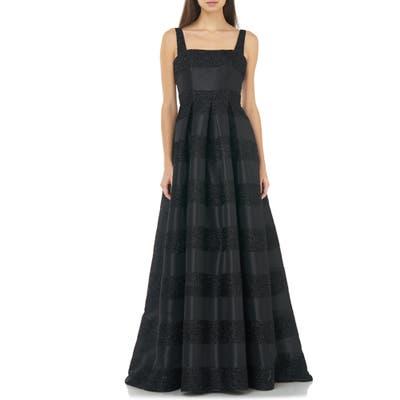 Carmen Marc Valvo Infusion Glitter Stripe Ballgown, Black