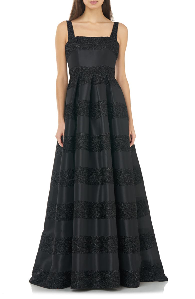 CARMEN MARC VALVO INFUSION Glitter Stripe Ballgown, Main, color, BLACK