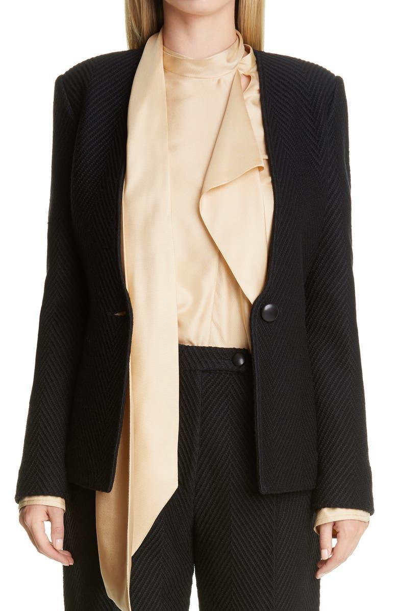 ST. JOHN COLLECTION Raised Herringbone Knit Jacket, Main, color, CAVIAR