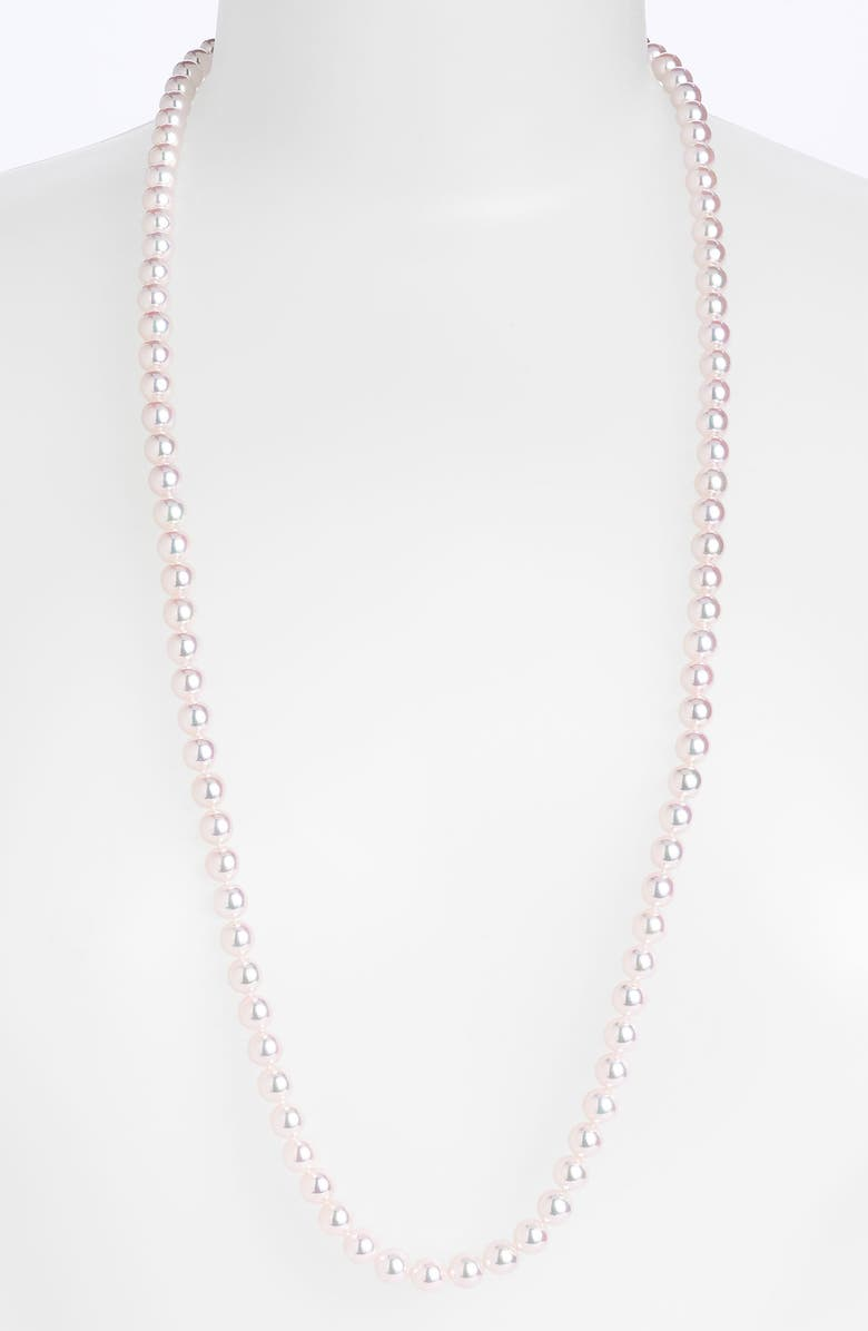 MIKIMOTO Cultured Pearl Long Necklace, Main, color, PEARL