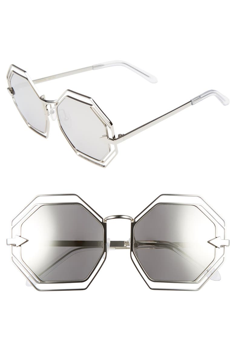 KAREN WALKER 'Emmanuel' Octagonal 55mm Sunglasses, Main, color, SILVER/ CLEAR