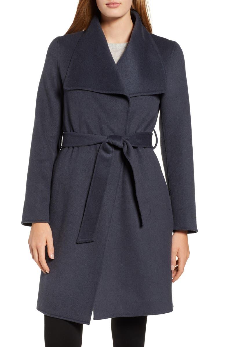 TAHARI Ellie Double Face Wool Blend Wrap Coat, Main, color, 020