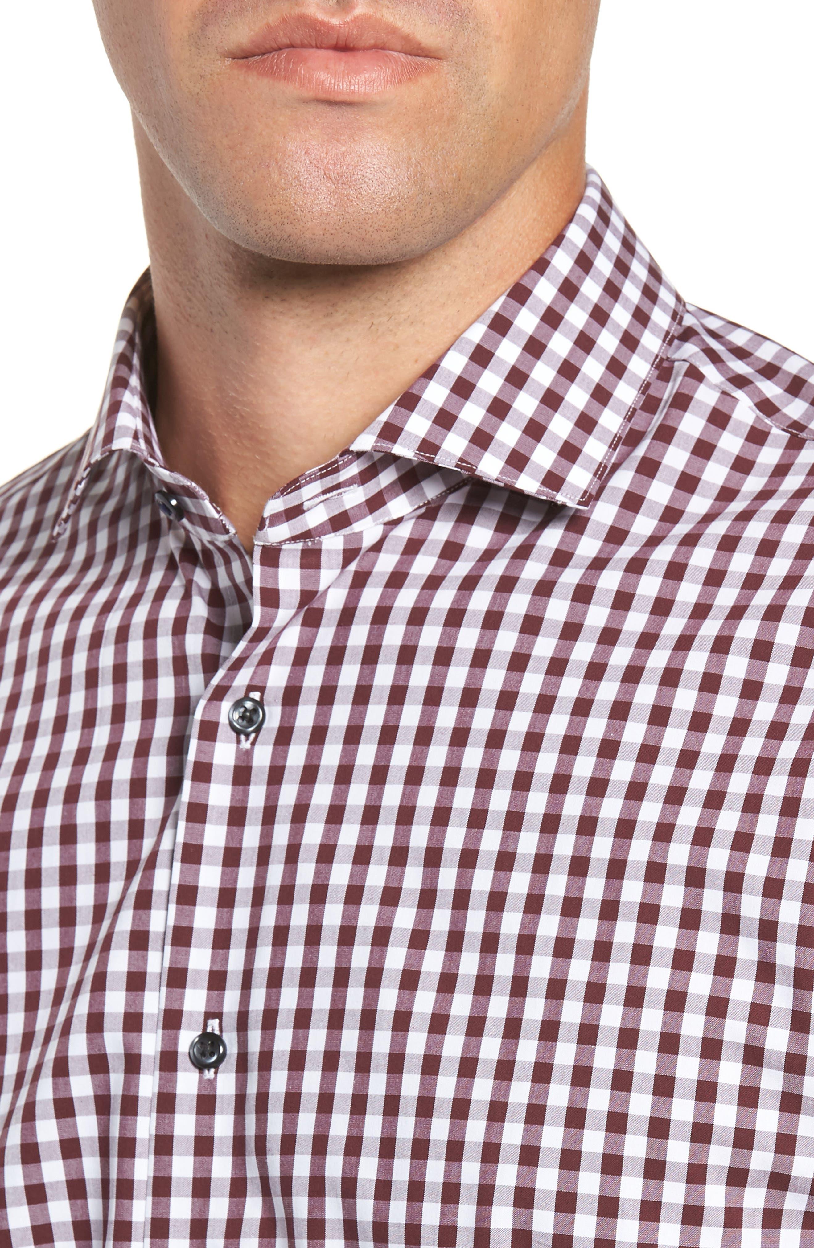 ,                             Tech-Smart Trim Fit Stretch Check Dress Shirt,                             Alternate thumbnail 52, color,                             930