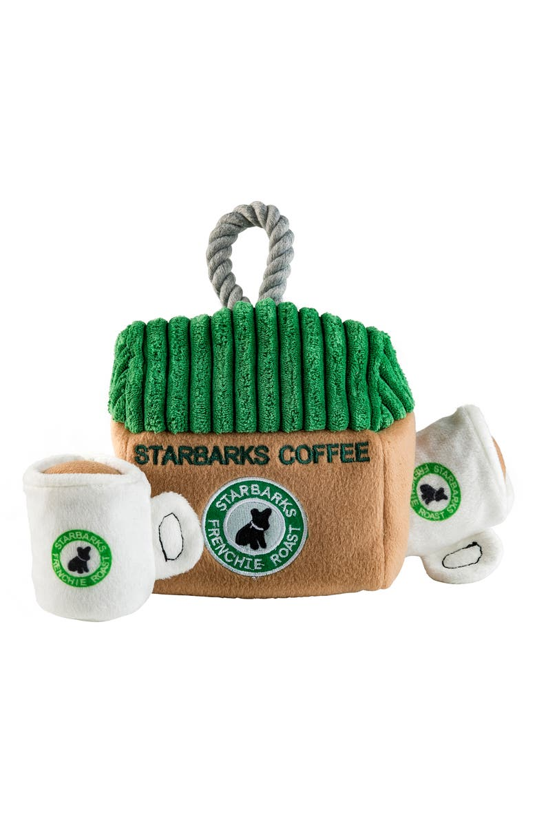 HAUTE DIGGITY DOG Starbarks Coffee House Dog Toy, Main, color, GREEN MULTI
