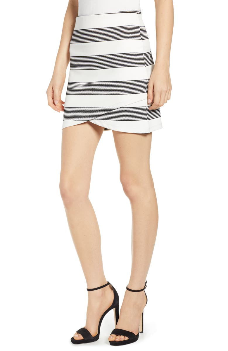 BISHOP + YOUNG Stripe Miniskirt, Main, color, BLACK STRIPE