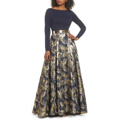 MAC Duggal Long Sleeve Metallic Waist Print Gown, Blue