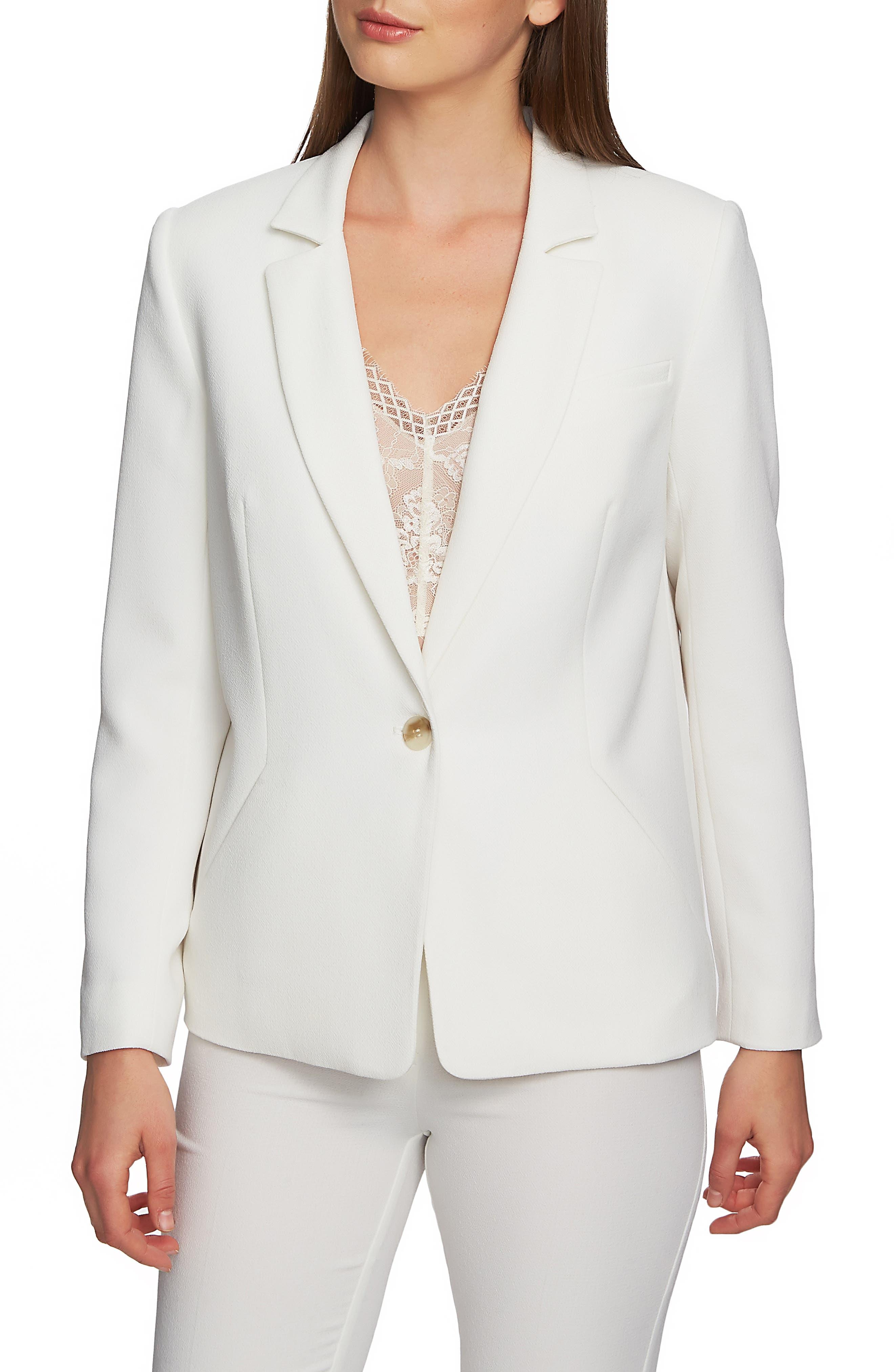 ,                             Textured Crepe Single Button Blazer,                             Main thumbnail 1, color,                             SOFT ECRU